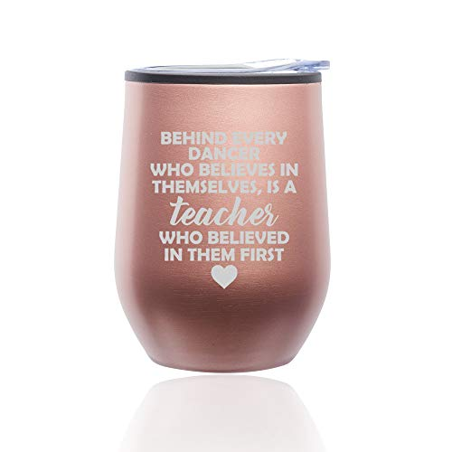 Stemless Wine Tumbler Coffee Travel Mug Glass with Lid Dance Teacher Gift (Rose Gold)