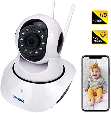 WiFi IP Camera 1080p, Wireless Security Camera Indoor Surveillance System 2.4GHz for Home Baby Pet Monitor with IR Night Vision, Pan Tilt Zoom, Motion Detection, Two-Way Audio, Cloud Storage