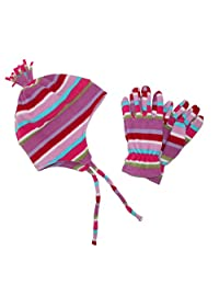 Grand Sierra Kid's 7-16 Helmet and Glove Fleece 2 Piece Set, Pink