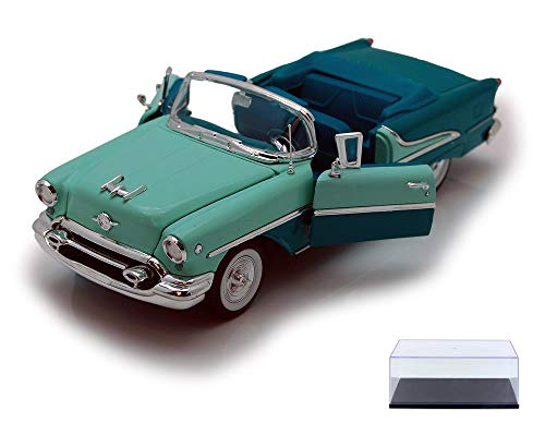 Welly Diecast Car & Display Case Package - 1955 Oldsmobile Super 88 Convertible, Green 22432 - 1/24 Scale Diecast Model Toy Car w/Display - Super Oldsmobile 88