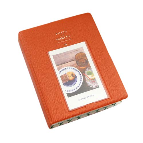 Gftablks Mini Photo Album, Fashion 64 Pockets Photo Storage Slip-in Card Holder, PVC Picture Holder for Polaroid - Orange
