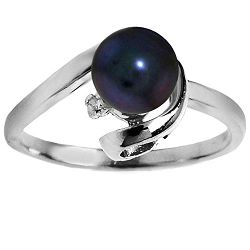 Galaxy Gold 14K Solid White Gold Ring with Natural 1.01 Carat Black Pearl and Diamond - Size 6.0 ()