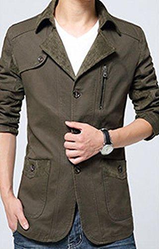 Trench Verde breasted Stile Lapel Lvrao Single Militare Rialzato Colletto Cotone Giacca Primaverile Esercito In Uomo Da P6xfWZ