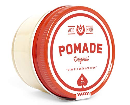 Ace High Pomade, Strong Hold, Natural Shine, Water Based, Hand Crafted, 4oz (The Best Water Based Pomade)