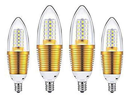 CTKcom 12W E14 LED Bulbs Candelabra LED Light Bulbs(4 Pack)- Daylight White 6000K LED Chandelier Bulbs,85-100W Light Bulb Equivalent,E14 Candle Light Torpedo Shape,AC110V 1200LM LED Light Bright -
