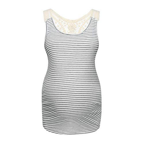 (Toponly Women's Striped Maternity Nursing Lace Mother Tank Tops Sleeveless Breastfeeding Floral Print Vest Gray)