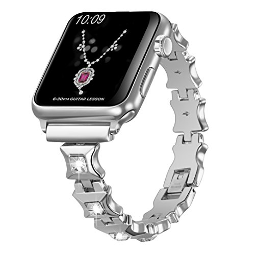 Sangaimei Watch Band 38mm Handmade Bling Crystal Stones Wristband Replacement Strap Compatible Apple Watch Series 3 Series 2 Series 1 Nike+ Sport Edition(Sliver White Diamond) - 24 Diamond White Dial