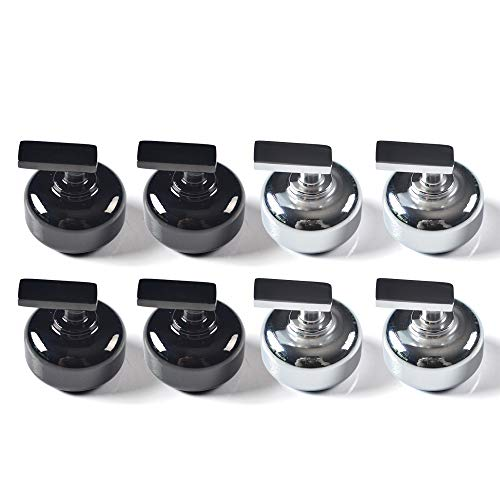 IdealEnjoy Mini Shuffleboard Pucks 1 1/8 (Dia.30mm) Set of 8 Black/Chrome - Mini Shuffleboard Outdoor Set