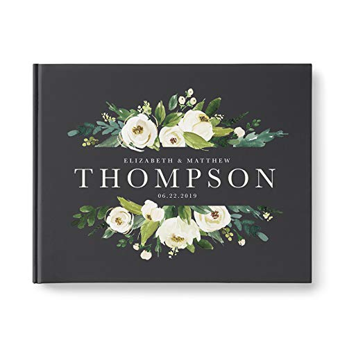 please + thanks Wedding Guest Book, Personalized, Hardcover with 80 Blank Pages, Landscape 10.9 x 8.75 inch