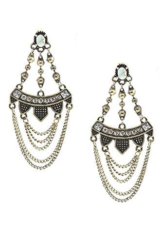 BAUBLES & CO FAUX STONE CHAIN DRAPE CHANDELIER EARRINGS (Antique (Murano Gold Chandelier)
