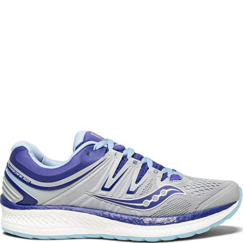 Saucony Women's Hurricane ISO 4 Running Shoe, Grey/Blue/Purple, 9.5 W US