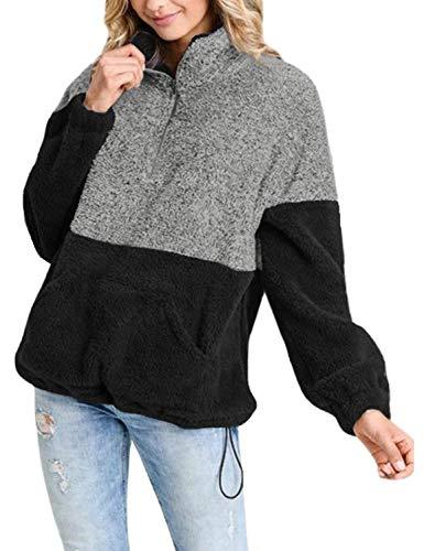 (Utyful Women's Black Casual Sherpa Fleece Color Block Zip Pullover Sweatshirt Outwear)