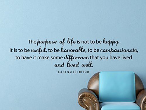 """Ralph Waldo Emerson Quote Inspirational Motivational Wall Decal Home Décor """"The Purpose of Life"""" 42x12 - Story Blank Wall"""