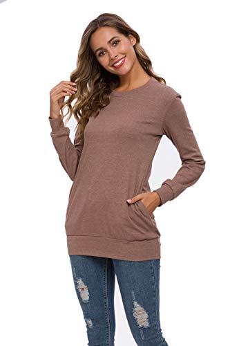 Coreal Women Long Sleeve Sweatershirt Casual Tunic Tops with Pockets