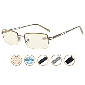 UV Protection,Anti Blue Rays,Reduce Eyestrain,Metal Frame Computer Reading Glasses(Gunmetal,Amber Tinted Lenses) +2.0