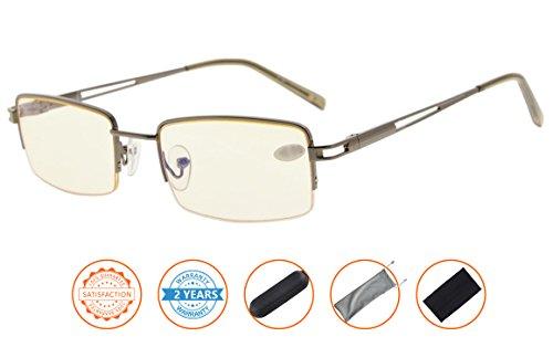 UV Protection,Anti Blue Rays,Reduce Eyestrain,Metal Frame Computer Reading Glasses(Gunmetal,Amber Tinted Lenses) - Mens Tinted Reading Glasses