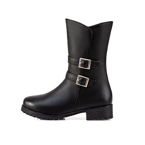 Women's PU Round Black Solid Heels Boots AgooLar Zipper Low Toe gqwx7UB
