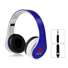 Langston Super Bass High Definition Sound Over Ear Foldable Headphones ( iM-12v ) in Blue With Microphone & Remote Suitable For Swistel Spark S5502D / Spark S5002D / Ava S5090D