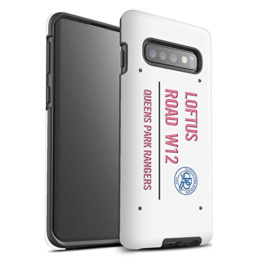 (Official Queens Park Rangers FC Phone Case/Matte Tough Shock Proof Cover for Samsung Galaxy S10 / White/Pink Design/QPR Loftus Road Sign Collection)