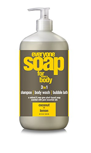 Everyone 3-in-1 Soap for Shampoo, Body Wash, or Bubble Bath with Natural Plant Based Essential Oils, Coconut and Lemon, 6 Count