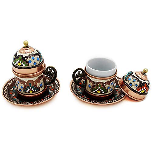 Copper Turkish Coffee Cups with Saucer and Lid (Set of (Hand Painted Coffee Cup)