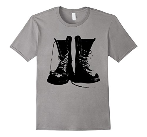 Costume Grunge Rocker (Mens Grunge Rock Boots Shirt 90s Punk Rocker Band Fashion Gift Medium)