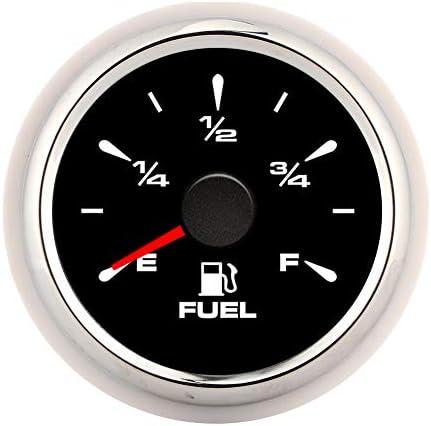 2in Fuel Gauge2in 190ohm Fuel Level Meter Fuel Level Gauges Digital Display 8 Colors Backlight for 12V24V Motorcycle Car YachtBlack Dial Silver Frame