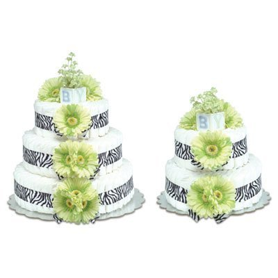 (Bloomers Baby 3 Tier Diaper Cake - Lime Green Daisies with Zebra Trim by Bloomers)
