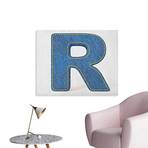 Anzhutwelve Letter R Wallpaper Retro Denim Style Alphabet Font Pattern with Capital R Letter Blue Jean Design Poster Paper Blue Yellow W32 xL24]()