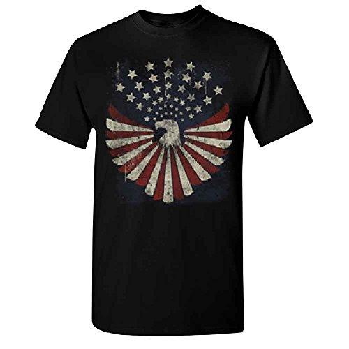 Bald Eagle Stars Flag American Patriotic Adult Unisex T-shirt USA Independence 4th of July Medium -