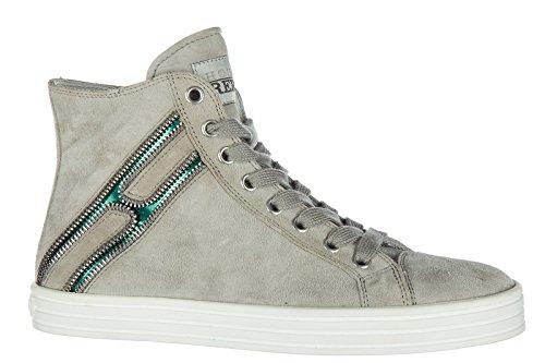 Hogan Rebel scarpe sneakers alte donna in camoscio nuove r141 beige ... e4746d62616