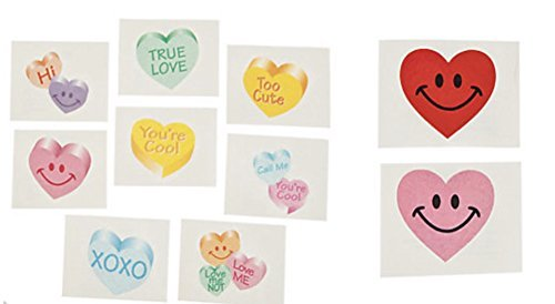 Smile Face and Conversation Heart Glitter Tattoos 144 Pieces