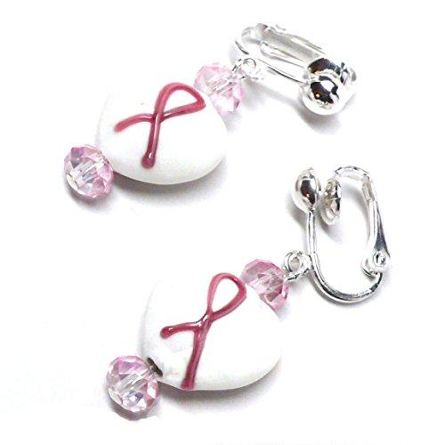 Silver 14 Mm Heart - Pink Ribbon Earrings Lamp Work 14mm White Glass Heart Clip-On Silver-Tone