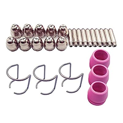 Donwind 26PCS SG-55 AG-60 WSD-60 Plasma Cutter Cutting Torch Tip Nozzles electrodes shield cap spacer guide Consumables Kit