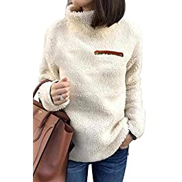 Sherpa Pullover Sweaters for Women Winter Warm Tunic Tops Sweatshirts