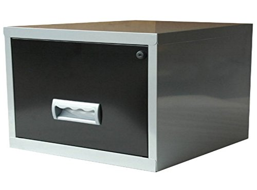 One Drawer A4 Desktop Office Filing Cabinet   Black And Silver