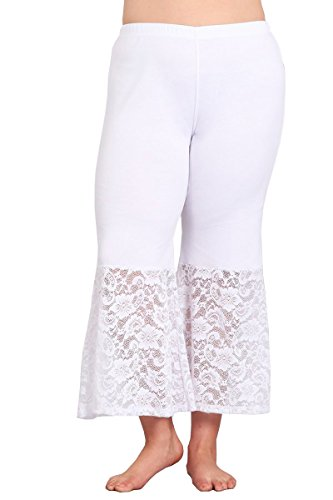 (HEYHUN Plus Size Women's Solid Wide Leg Flared Capri Boho Culotte Pants w/Lace Detail - White)