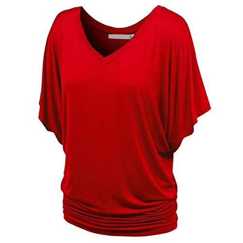 Plier Casual Et Uni Manche Bouffant Souris Fille Femme Mode Outdoor Manches V Shirts Cou Classique Elgante Top Bonne Chauve Qualit Shirts Rouge Shirt T Courtes T De qX6wTf7f