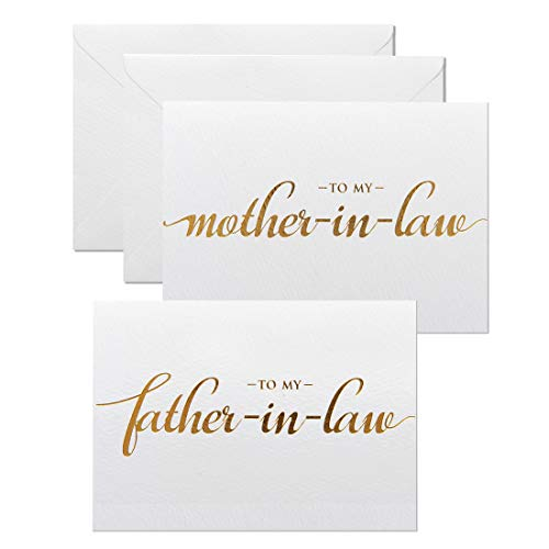 MAGJUCHE to My Father-in-Law, Mother-in-Law Wedding Day Cards Set from The Bride and Groom, Gold Foil Wedding Cards for in Laws