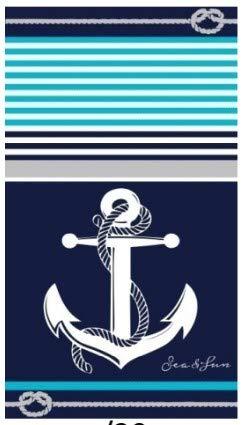 Regalitostv Set Toalla Playa Grande Ancla Azul Marino 100% ALGODÓN Egipcio Mod: (448B