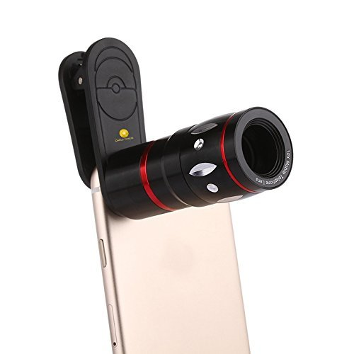 Universal 10X Optical Zoom Telephoto Clip On Lens High Definition Mobile Telescope Camera Lens for iPhone 7, LG, HTC, Sony and More (Black) ()