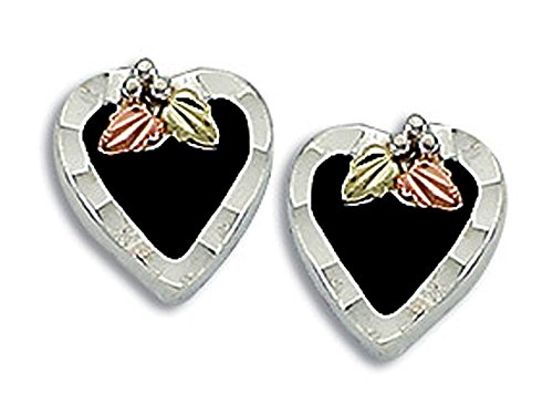 Landstroms Black Hills Silver Onyx Heart Earrings - MRLER1688