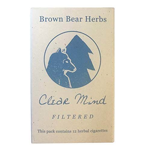Brown Bear Herbs, Clear Mind, Filtered Organic Herbal Cigarettes, NO Tobacco, No Nicotine, Made in The USA