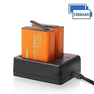 CAMKONG Action Camera Battery Dual 1350mAh and USB Dual battery Charger for AKASO / Campark / EKEN / DBPOWER / APEMAN / Victure / FITFORT / SOOCOO / CAMKONG