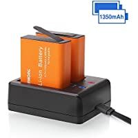 2 x 1350mAh Rechargeable CAMKONG Action Camera Battery Dual 1350mAh and USB Dual battery Charger for AKASO / Campark / EKEN / DBPOWER / APEMAN / Victure / FITFORT / SOOCOO / CAMKONG