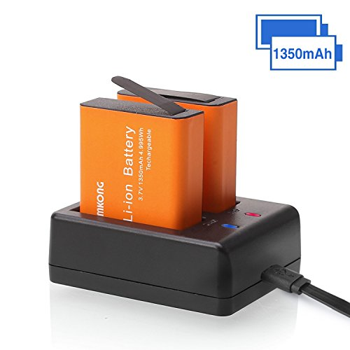 2 x 1350mAh Rechargeable CAMKONG Action Camera Battery Dual 1350mAh and USB Dual battery Charger for AKASO / Campark / EKEN / DBPOWER / APEMAN / Victure / FITFORT / SOOCOO / CAMKONG (Battery Ion 1350mah Capacity Li)