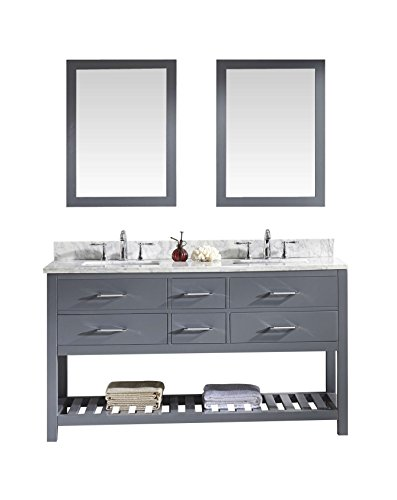 Virtu USA Caroline Estate 60 inch Double Sink Bathroom Vanity Set in Grey w/Square Undermount Sink, Italian Carrara White Marble Countertop, No Faucet, 2 Mirrors - MD-2260-WMSQ-GR