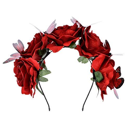 (DreamLily Frida Kahlo Mexican Flower Crown Headband Halloween Party Costume Dia de Los Muertos Headpiece NC25 (C-Rose)