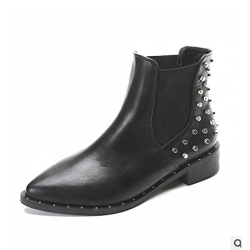 HSXZ Zapatos de Mujer Otoño Invierno PU Confort botas de tacón Chunky señaló Toe botines/botines de Negro Casual Black