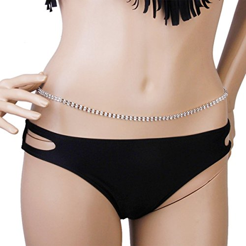 Rhinestone Belly Chain - BESTOYARD Women's Sexy Rhinestone Bikini Beach Body Belly Silver Waist Chain Waist Chain (Silver)